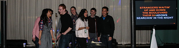 Photo By Curtis Knight.  Group of students singing karaoke on stage at Stratton Hall 1-16-15!